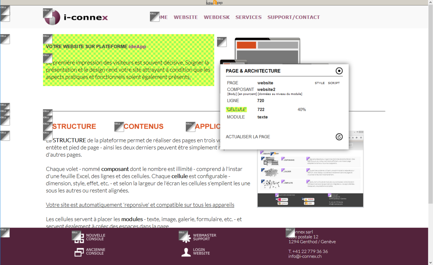 Edition de la structure des pages Internet