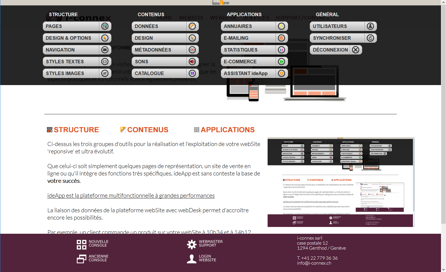Volet de création et de gestion de votre site web